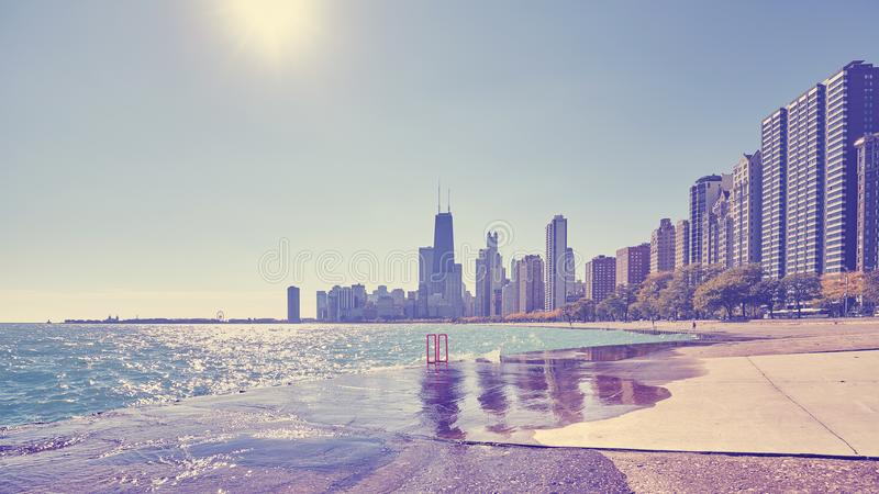 Rocznik tonował fotografię Chicagowski miasta nabrzeże, usa zdjęcia royalty free