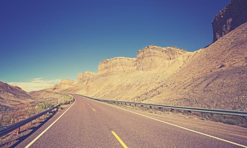 Rocznik tonował kraj autostradę, Utah stan, usa fotografia stock