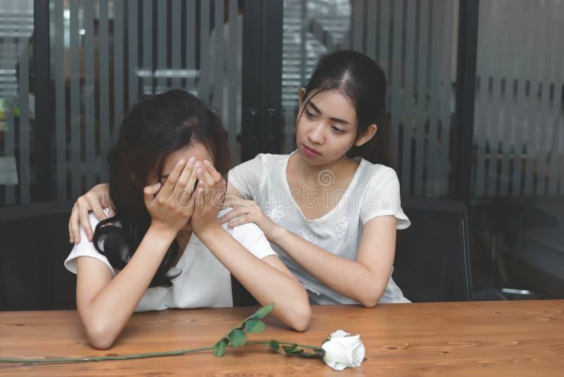 Rocznik tonował wizerunek sfrustowana zaakcentowana Azjatycka kobieta pociesza smutnego przygnębionego żeńskiego przyjaciela Łama zdjęcia stock