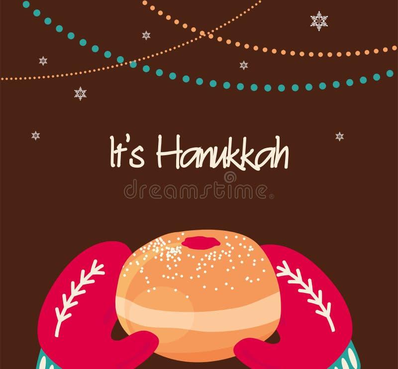 Rocznik trykotowe mitynki trzyma Hanukkah pączek