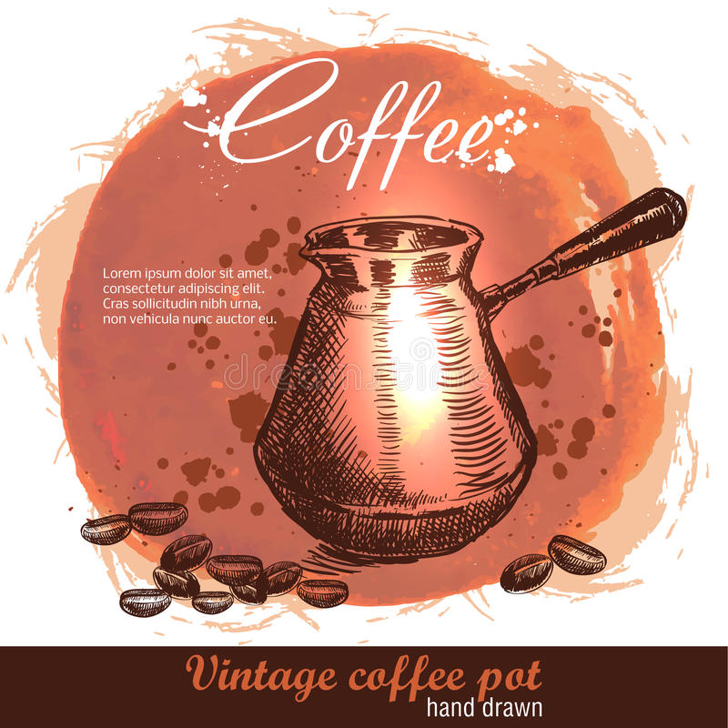 Rocznik tureckiej kawy garnka ręka rysujący cezve z kawowymi fasolami ilustracja wektor