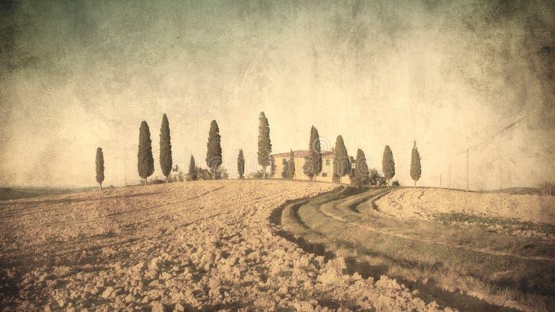 Rocznika Tuscan krajobraz obraz royalty free