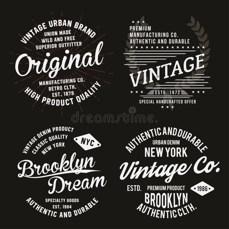 Rocznik typografia dla koszulka druku Premia rocznika koszulki grafika ustawiać ilustracja wektor