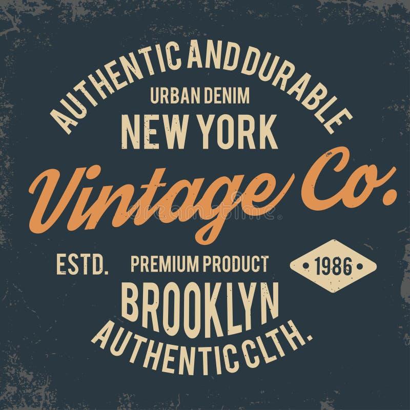Rocznik typografia dla t koszulowego druku Nowy Jork koszulki grafika z grunge royalty ilustracja
