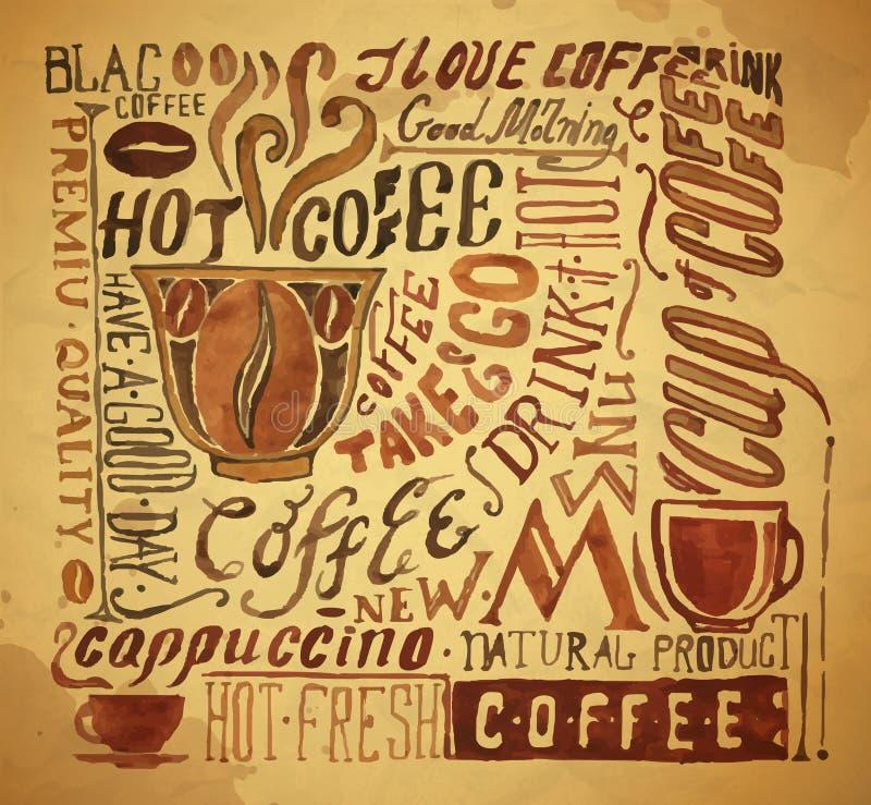 Rocznik typografii kawowy tło royalty ilustracja
