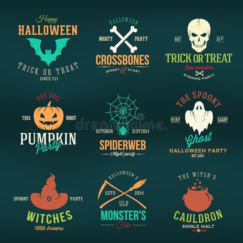 Rocznik typografii koloru Halloweenowe Wektorowe odznaki ilustracja wektor