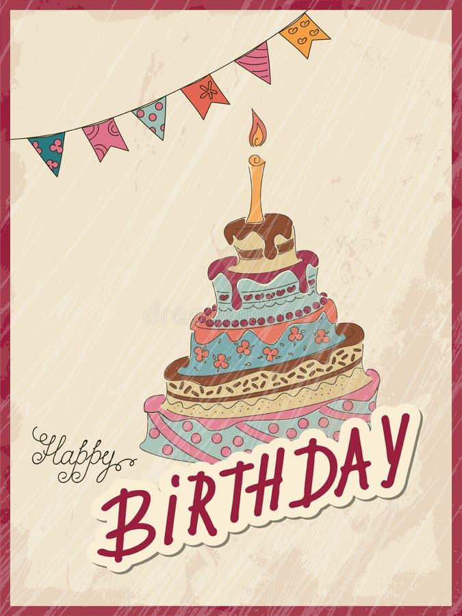 Rocznik urodzinowa karta z doodle flaga i tortem ilustracja wektor