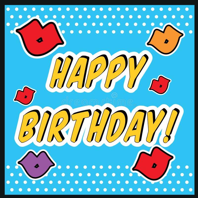 Rocznik Urodzinowej karty wystrzału sztuki styl z buziaka znakiem z buziakiem i wargami royalty ilustracja