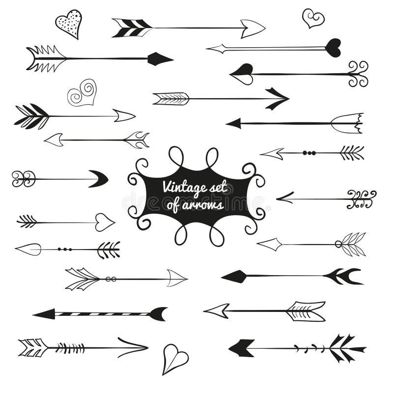 Rocznik ustawiający śliczne strzała i serca royalty ilustracja