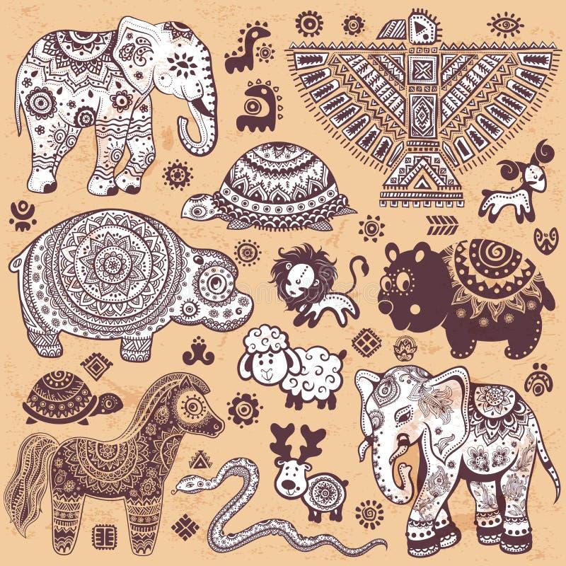 Rocznik ustawiający etniczni zwierzęta ilustracja wektor