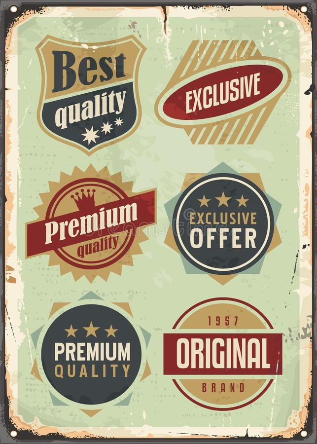Rocznik ustawiający promocyjne etykietki ilustracja wektor