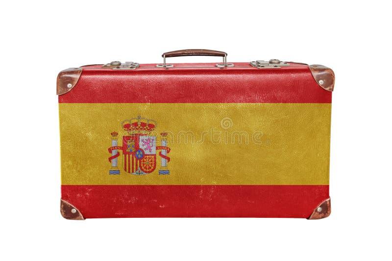 Rocznik walizka z Hiszpania flaga zdjęcie royalty free