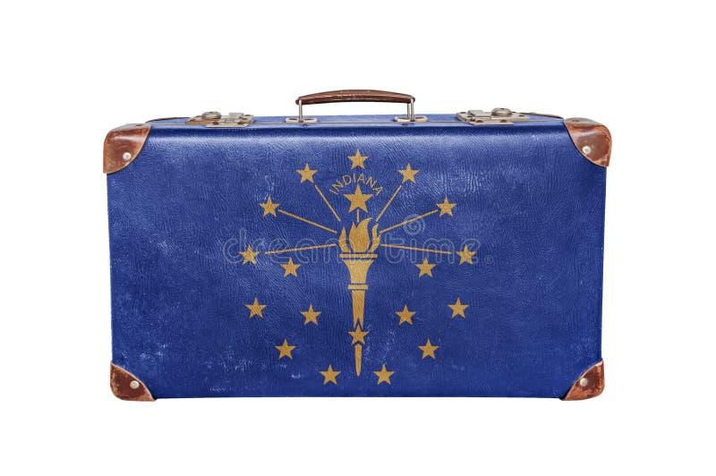 Rocznik walizka z Indiana flaga fotografia royalty free