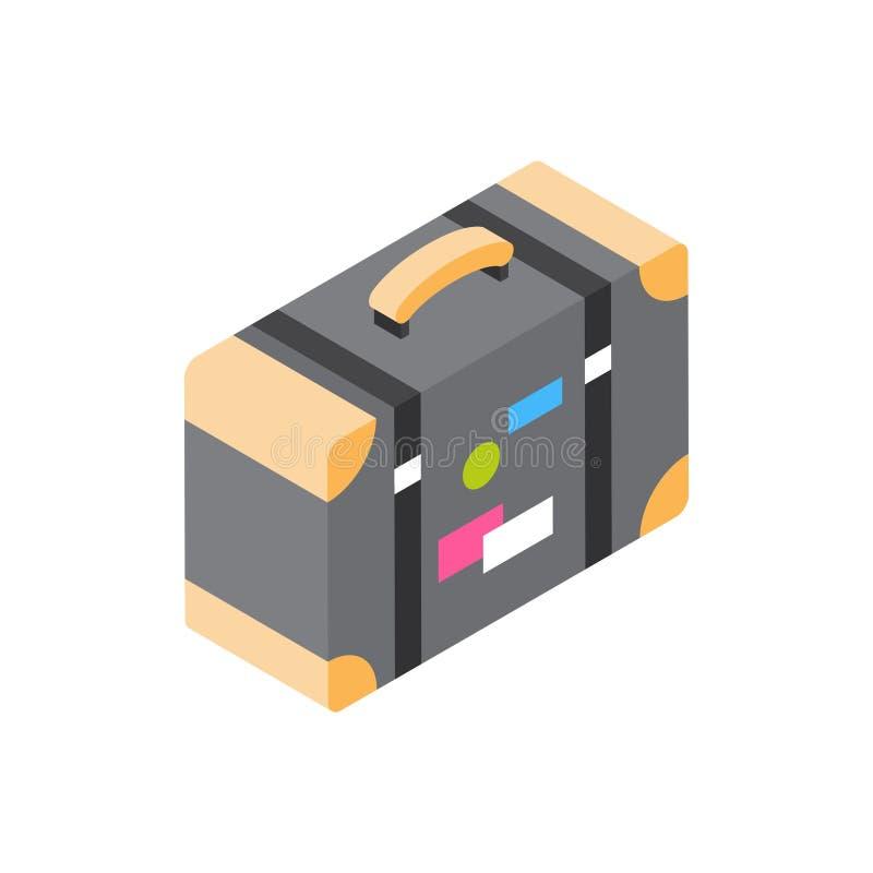 Rocznik walizka Z majcher ikony podróży Isometric bagaż Odizolowywającym pojęciem ilustracja wektor