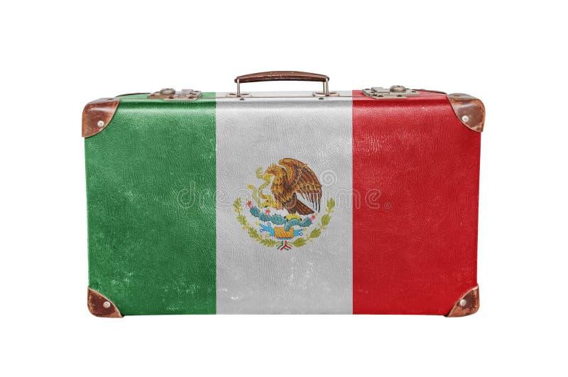 Rocznik walizka z Meksyk flaga obrazy royalty free