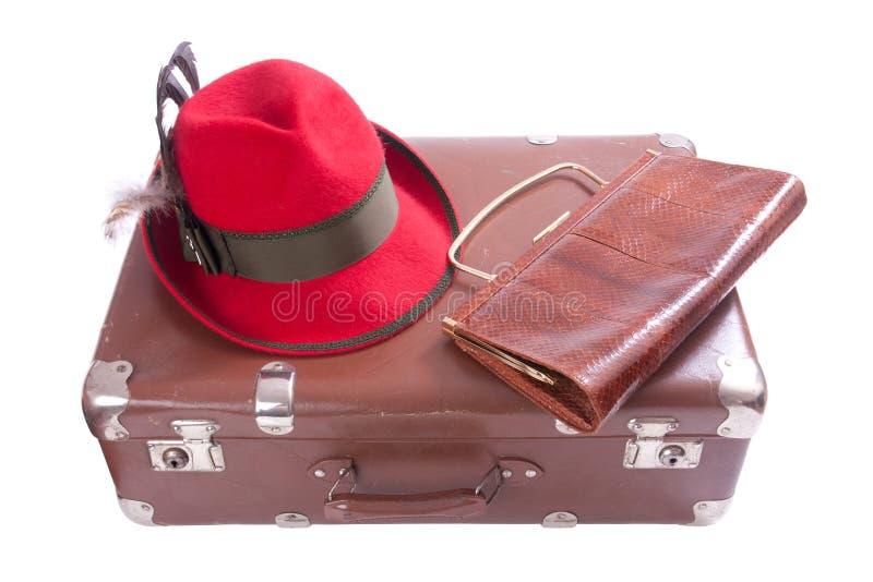 Rocznik walizka z sprzęgłową torbą i tradycyjnym Bawarskim kapeluszem zdjęcie stock