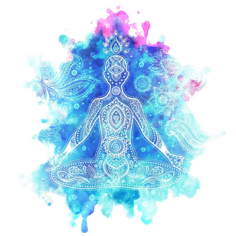 Rocznik wektorowa ilustracja z medytaci pozą ilustracji
