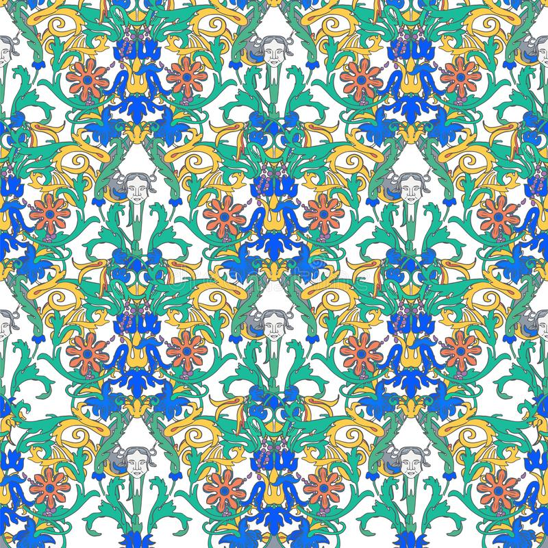 Rocznik wektorowa kwiecista granica Bezszwowy wzór, wiktoriański styl Dekoracyjni kwiaty na ciemnym tle Retro koronka royalty ilustracja