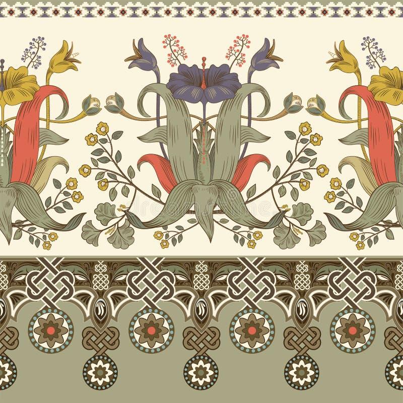Rocznik wektorowa kwiecista granica Bezszwowy wzór, wiktoriański styl Rocznik kwiecista ilustracyjna tapeta dla sieci, tkanina ilustracja wektor