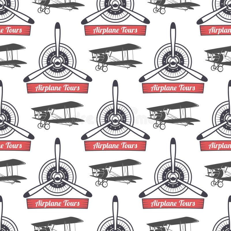 Rocznik wycieczki turysycznej samolotowy wzór Biplanów śmigieł bezszwowy tło z faborkiem, biplany Retro Płaska tapeta i ilustracji