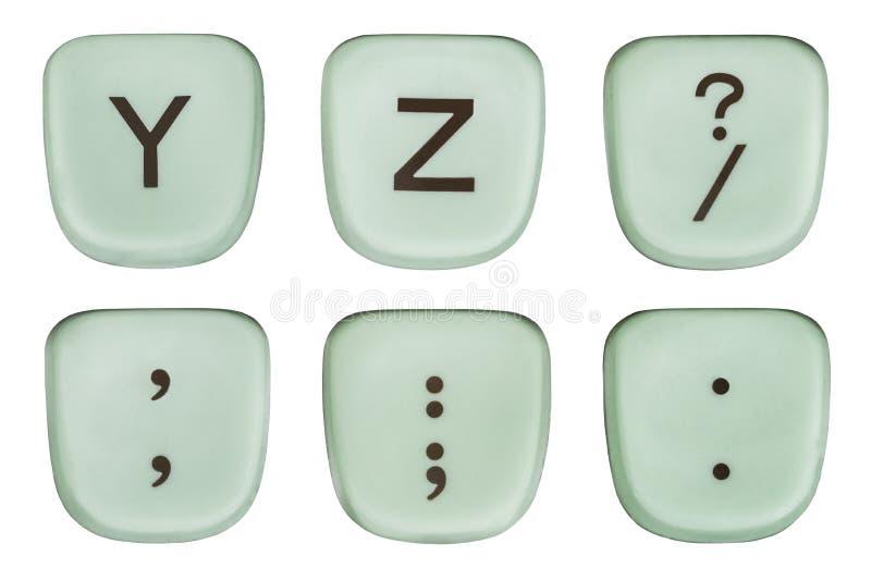 Rocznik Y i Z Zielona maszyna do pisania interpunkcja i klucze fotografia stock