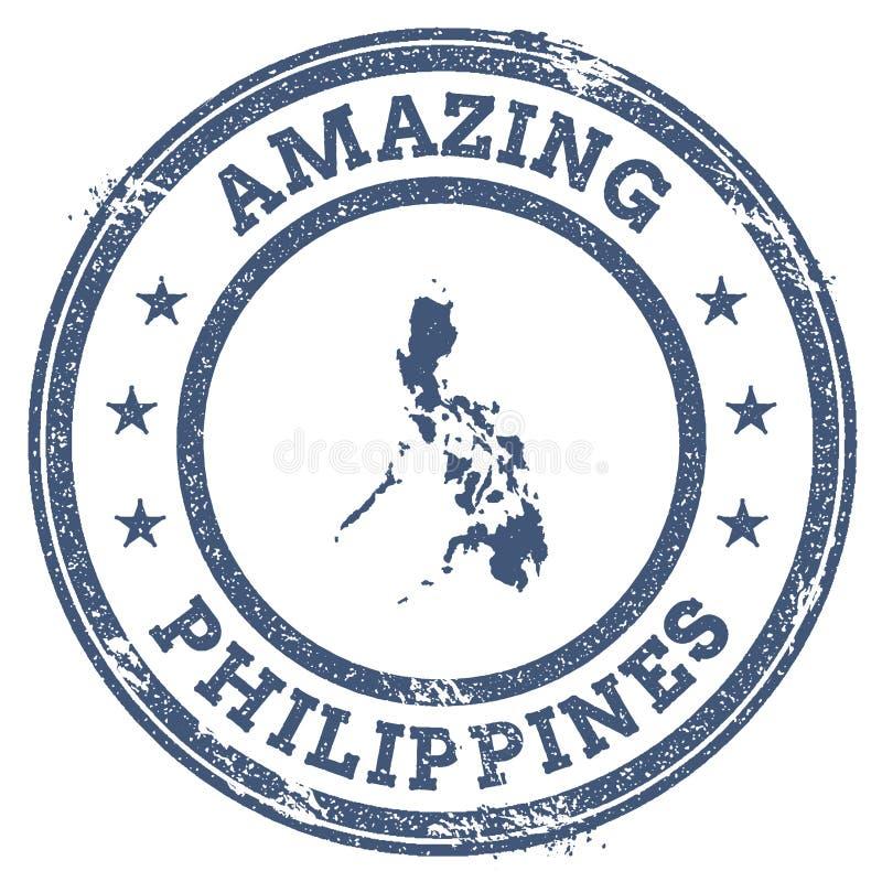 Rocznik Zadziwia Filipińskiego podróż znaczek z mapą ilustracji
