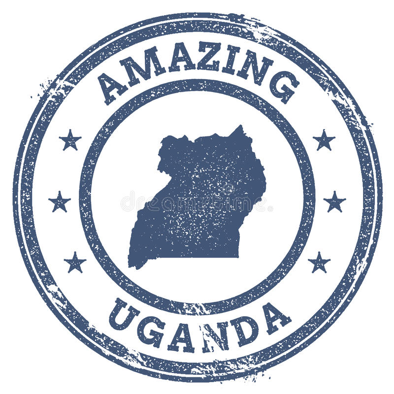 Rocznik Zadziwia Uganda podróży znaczek z mapą ilustracja wektor
