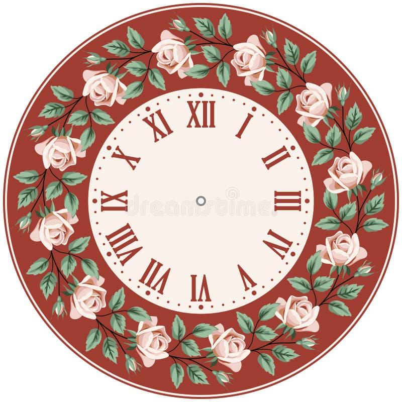Rocznik zegarowa twarz z różami royalty ilustracja