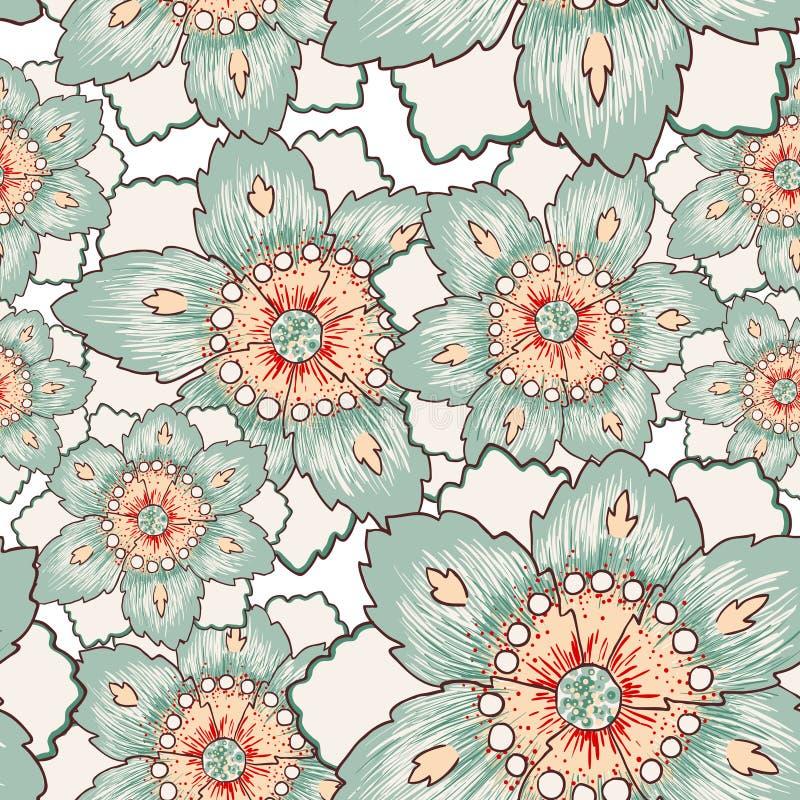 Rocznik zieleni kwiatu bezszwowa tekstura ilustracji