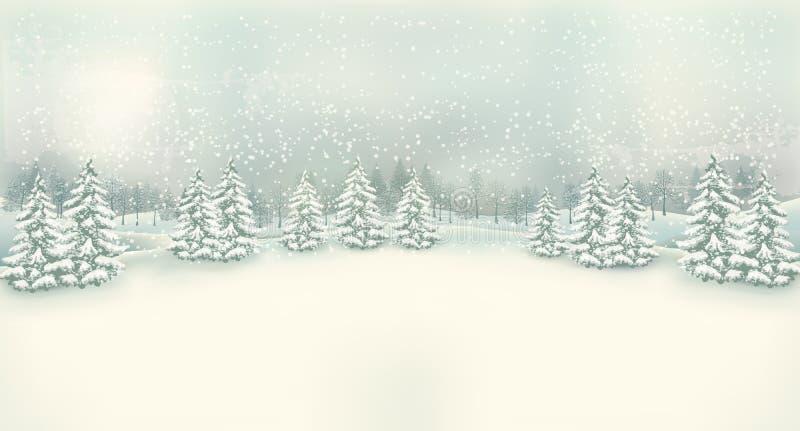 Rocznik zimy krajobrazu Bożenarodzeniowy tło