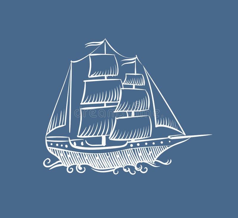 Rocznika łódkowaty nakreślenie Ręka rysująca starej pirat dennej żaglówki doodle żagla skuneru statku wektorowa ilustracja na bie ilustracji