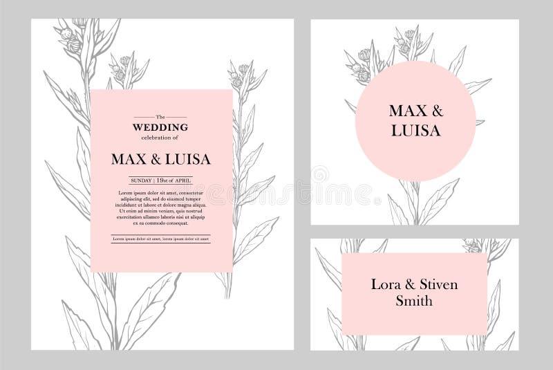 Rocznika ślub ustawiający z botanicznym Ślubny zaproszenie, save datę, przyjęcie karta pojęcia sukni panny młodej portret schodów ilustracja wektor