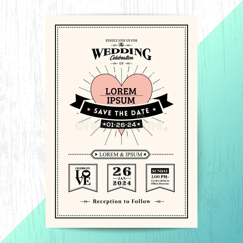 Rocznika ślubny zaproszenie oprócz daktylowej karty royalty ilustracja