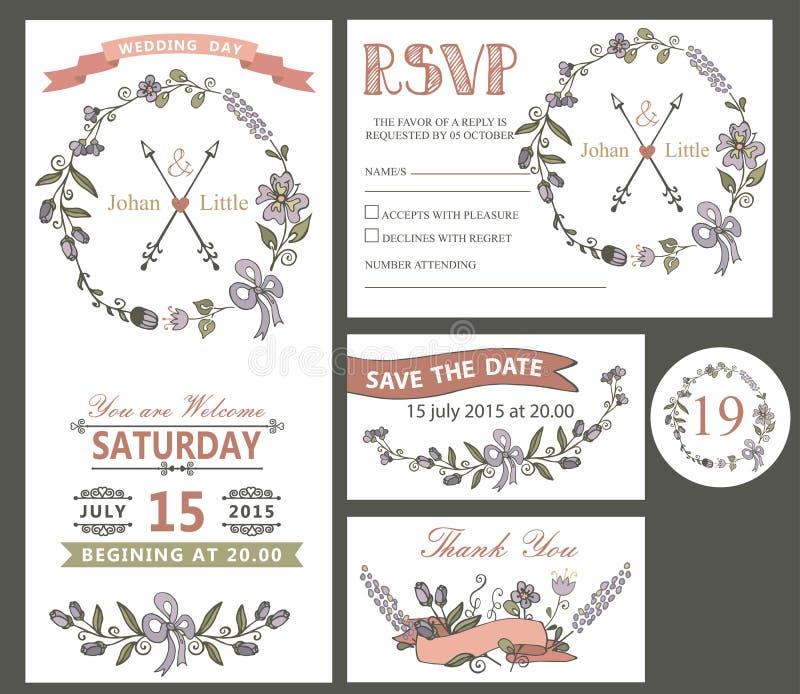 Rocznika ślubu projekta szablon ustawiający z kwiatami ilustracja wektor