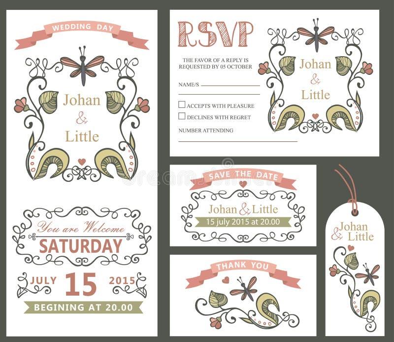 Rocznika ślubu projekta szablonu set bukiet róż ilustracyjne dekoracji kwieciste wektorowe ilustracja wektor
