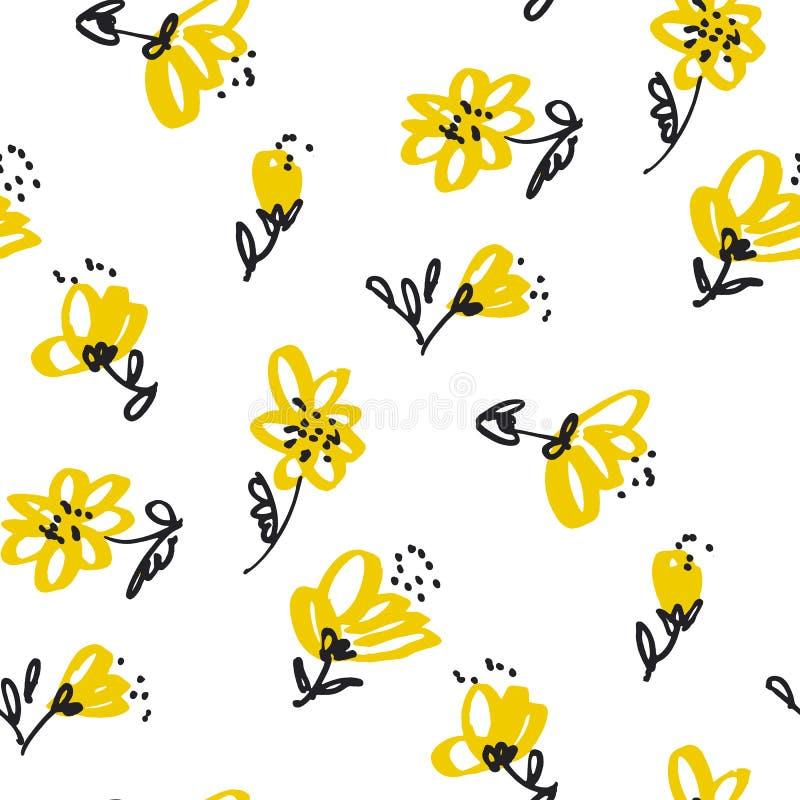 Rocznika żółty kwiecisty bezszwowy wzór Akcyjny Wektorowy Illustratio ilustracji