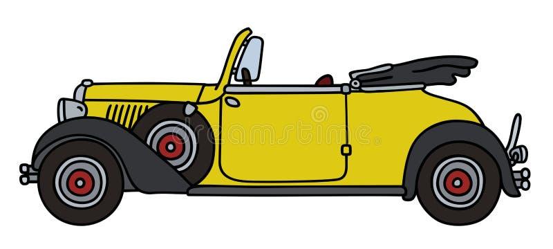 Rocznika żółty mały kabriolet royalty ilustracja