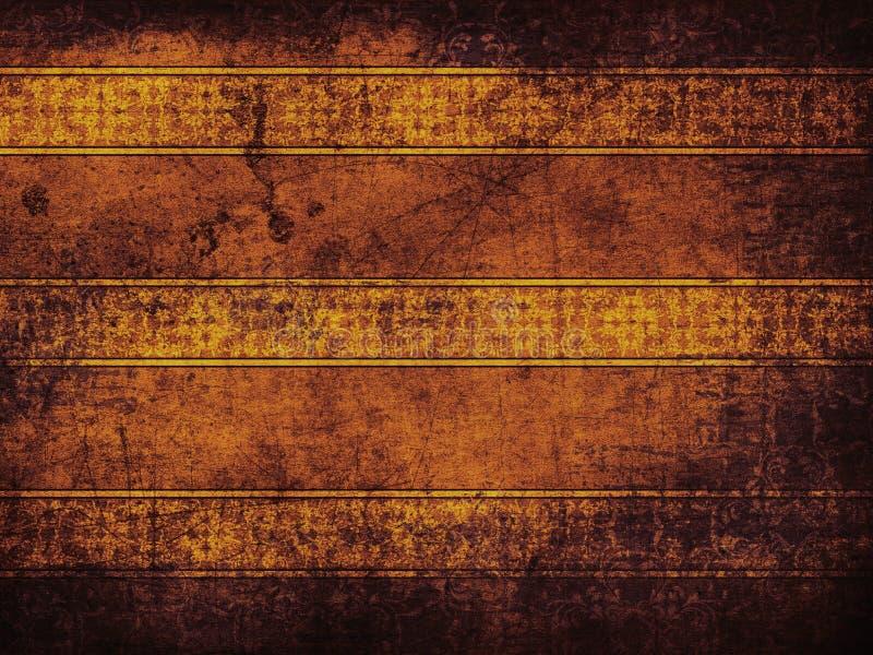 Rocznika żółty tło z kwiatu wzorem royalty ilustracja