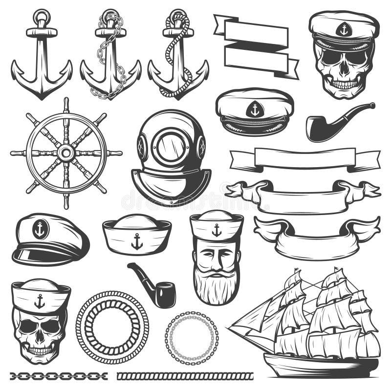Rocznika żeglarza ikony Morski set ilustracji
