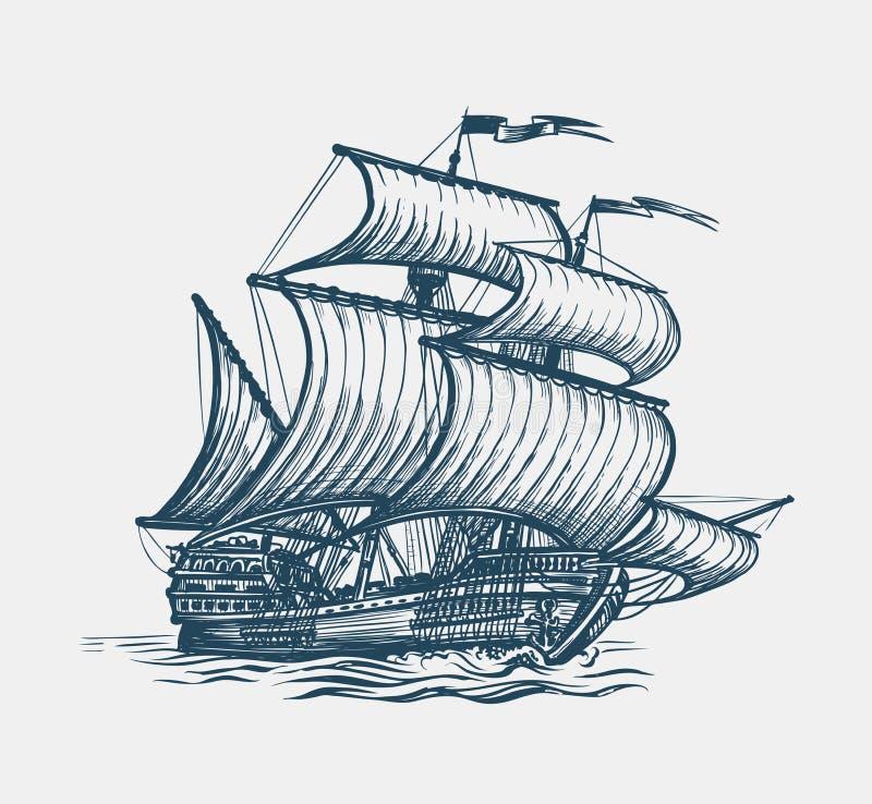 Rocznika żeglowania statek Seafaring, żaglowa pojęcie Nakreślenie wektoru ilustracja royalty ilustracja