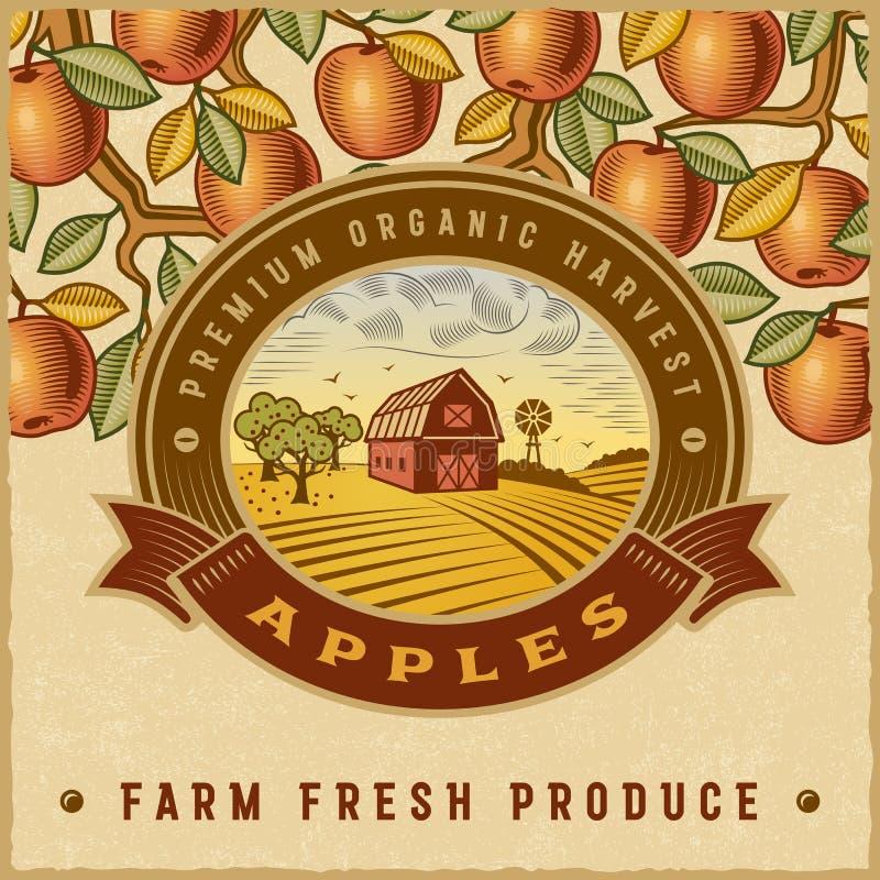 Rocznika żniwa kolorowa jabłczana etykietka ilustracja wektor