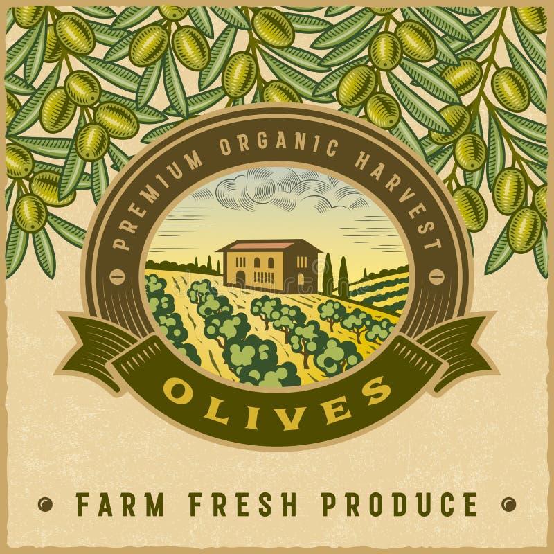 Rocznika żniwa kolorowa oliwna etykietka ilustracja wektor