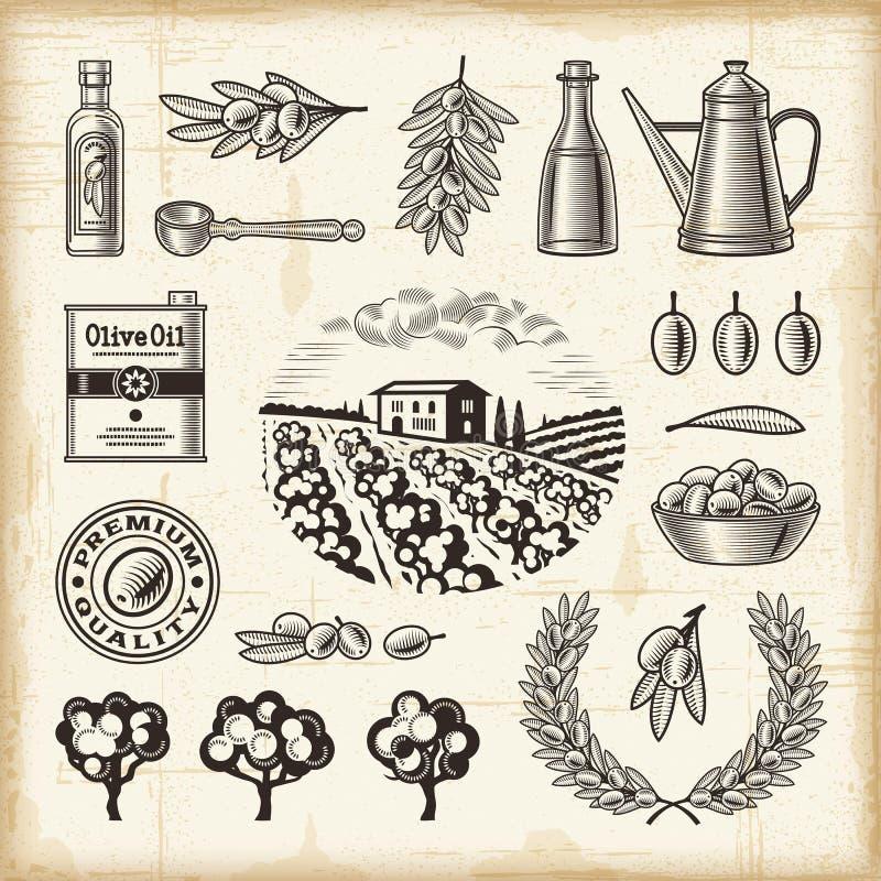 Rocznika żniwa oliwny set ilustracji