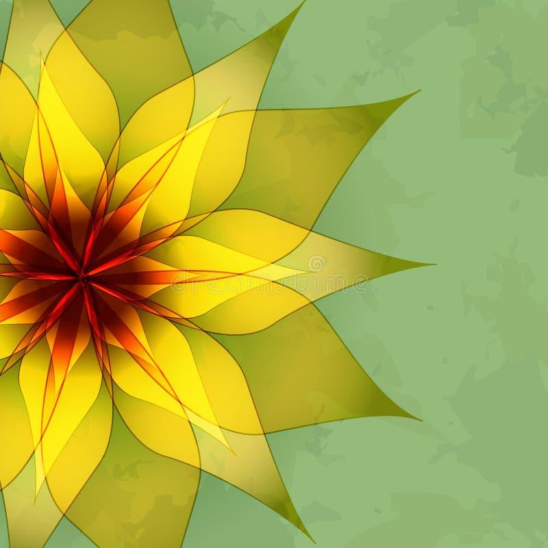 Rocznika abstrakta zieleni tło z kwiatem ilustracji