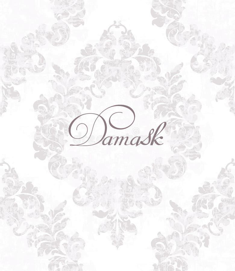 Rocznika adamaszek ornamentujący deseniowy wektor Wiktoriańska Królewska tekstura projekta dekoracyjny kwiat Lekkiego koloru wyst ilustracji