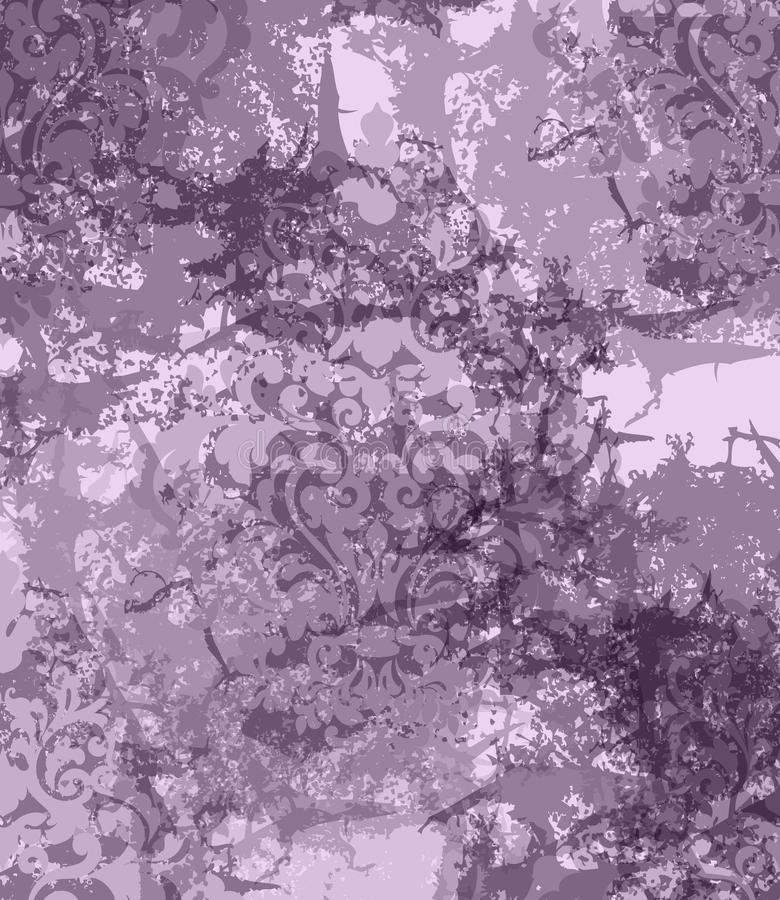 Rocznika adamaszka ornament żebrujący Wektorowy tło Eleganccy wzory z plama wystrojem Modni fiołków kolory ilustracji
