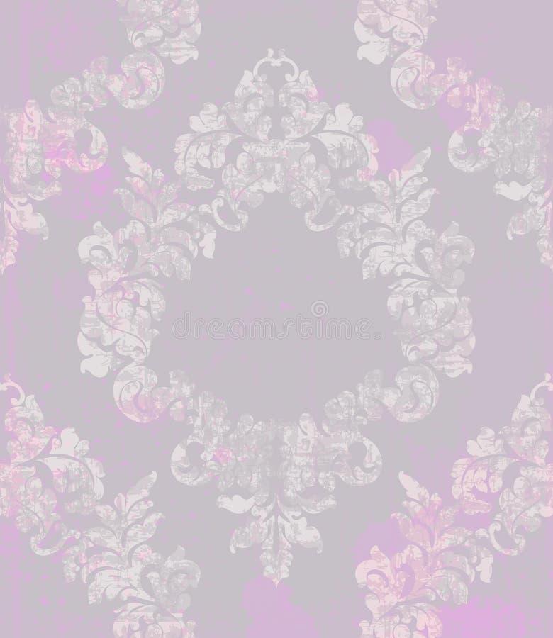 Rocznika adamaszka zawijas ornamentujący deseniowy wektor Wiktoriańska Królewska tekstura projekta dekoracyjny kwiat Pluśnięcie k ilustracji