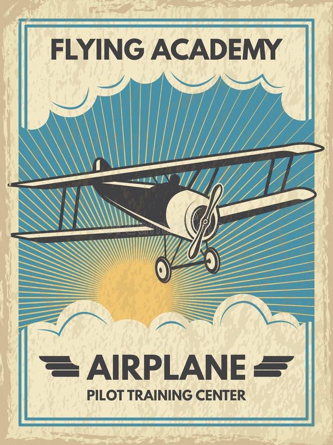 Rocznika aircaft plakat również zwrócić corel ilustracji wektora ilustracja wektor