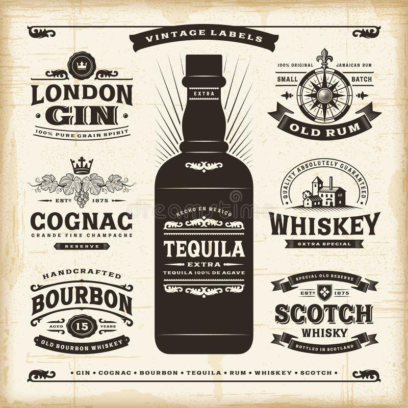 Rocznika alkohol przylepia etykietkę kolekcję ilustracja wektor