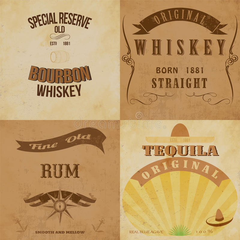 Rocznika alkoholu etykietki ustawiać royalty ilustracja